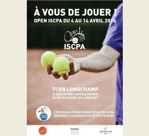 Le tournoi de tennis « Open ISCPA » s'engage du 4 au 14 avril 2016 pour faire rêver les enfants malades
