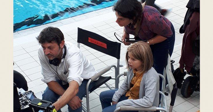 Eva sur le tournage de la série Clem